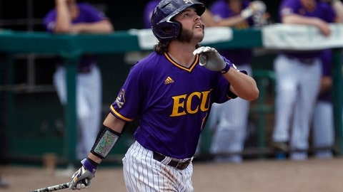 <p>               FILE - In this March 31, 2019, file photo, East Carolina Alec Burleson hits a home run during an NCAA college basketball game against South Florida in Tampa, Fla. Burleson could be the best two-way player in the country as the Pirates' starting right fielder and closer. Last season he batted .370 with nine home runs and 61 RBIs and posted a 6-2 record and five saves with 68 strikeouts in 60-plus innings. (AP Photo/Mark LoMoglio, File)             </p>