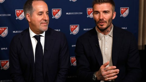 <p>               Inter Miami CF co-owners Jorge Mas, left, and David Beckham, are interviewed during the Major League Soccer 25th Season kickoff event, in New York, Wednesday, Feb. 26, 2020. (AP Photo/Richard Drew)             </p>