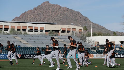 <p>               The San Francisco Giants run during spring training baseball practice, Friday, Feb. 14, 2020, in Scottsdale, Ariz. (AP Photo/Darron Cummings)             </p>