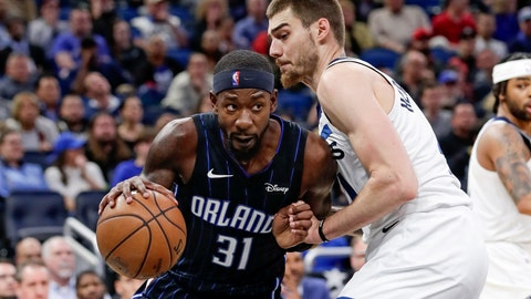 <p>               Orlando Magic guard Terrence Ross (31) drives around Minnesota Timberwolves forward Juan Hernangomez during the second half of an NBA basketball game Friday, Feb. 28, 2020, in Orlando, Fla. (AP Photo/John Raoux)             </p>