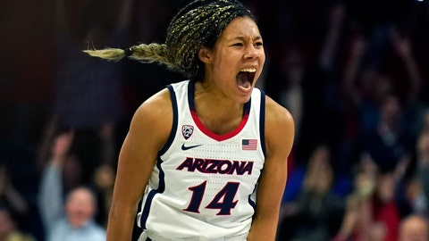 <p>               Arizona forward Sam Thomas (14) reacts after scoring against Stanford during the second half of an NCAA college basketball game Friday, Feb. 28, 2020, in Tucson, Ariz. (AP Photo/Rick Scuteri)             </p>