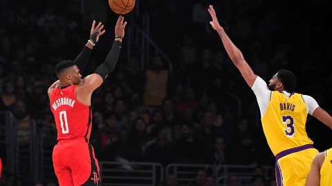 <p>               Houston Rockets guard Russell Westbrook, left, shoots as Los Angeles Lakers forward Anthony Davis defends during the first half of an NBA basketball game Thursday, Feb. 6, 2020, in Los Angeles. (AP Photo/Mark J. Terrill)             </p>