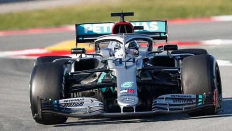 <p>               Mercedes-AMG Petronas' Lewis Hamilton drives during a Formula One pre-season testing session at the Barcelona Catalunya racetrack in Montmelo, outside Barcelona, Spain, Thursday, Feb. 20, 2020. (AP Photo/Joan Monfort)             </p>