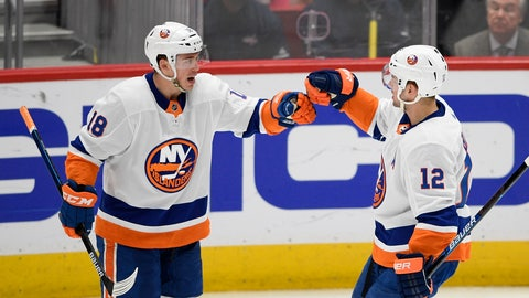 <p>               New York Islanders left wing Anthony Beauvillier (18) celebrates his second goal of the game with right wing Josh Bailey (12) during the first period of an NHL hockey game against the Washington Capitals, Monday, Feb. 10, 2020, in Washington. (AP Photo/Nick Wass)             </p>
