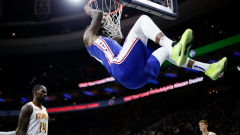 <p>               Philadelphia 76ers' Joel Embiid, top, hangs from the rim after a dunk past Atlanta Hawks' Dewayne Dedmon during the second half of an NBA basketball game, Monday, Feb. 24, 2020, in Philadelphia. (AP Photo/Matt Slocum)             </p>