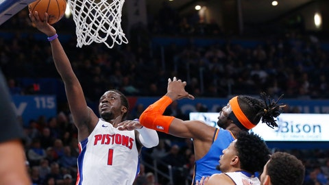 <p>               Detroit Pistons guard Reggie Jackson (1) shoots in front of Oklahoma City Thunder center Nerlens Noel, right, during the first half of an NBA basketball game Friday, Feb. 7, 2020, in Oklahoma City. (AP Photo/Sue Ogrocki)             </p>
