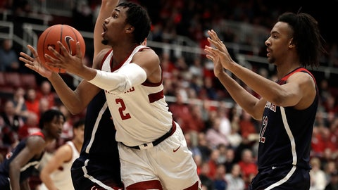 <p>               Stanford's Bryce Wills (2) shoots past Arizona's Zeke Nnaji during the first half of an NCAA college basketball game Saturday, Feb. 15, 2020, in Stanford, Calif. (AP Photo/Ben Margot)             </p>