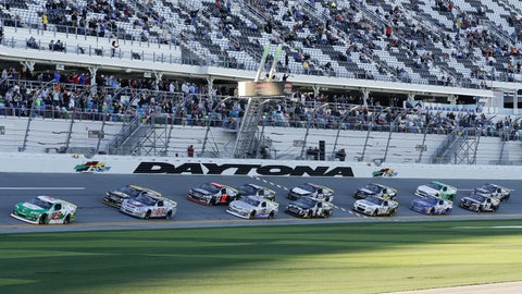 <p>               Michael Self (25) leads the field at the start the ARCA auto race at Daytona International Speedway, Saturday, Feb. 8, 2020, in Daytona Beach, Fla. (AP Photo/Terry Renna)             </p>