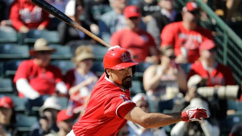 <p>               Los Angeles Angels' Anthony Rendon hits an RBI single during the second inning of a spring training baseball game against the Cincinnati Reds, Tuesday, Feb. 25, 2020, in Tempe, Ariz. (AP Photo/Darron Cummings)             </p>