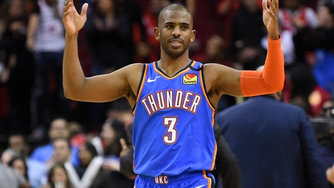 <p>               FILE - In this Monday, Jan. 20, 2020 file photo, Oklahoma City Thunder guard Chris Paul reacts after the team's win in an NBA basketball game against the Houston Rockets in Houston. Chris Paul is an All-Star for the first time since 2016, and the Thunder are firmly in the playoff race. Neither scenario seemed likely when the Thunder traded Russell Westbrook for Paul this past summer. Many are shocked, but Paul is almost dismissive when asked how it all has happened. His rejuvenation and leadership at age 34 have helped him make the most of a situation that appeared to be undesirable.(AP Photo/Eric Christian Smith, File)             </p>