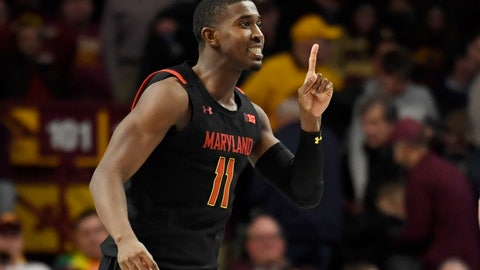 <p>               Maryland's Darryl Morsell celebrates his go-ahead 3-point basket against Minnesota late in the second half of an NCAA college basketball game Wednesday, Feb. 26, 2020, in Minneapolis. Maryland won 74-73. (AP Photo/Hannah Foslien)             </p>