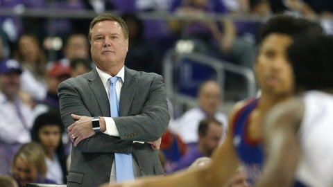 <p>               Kansas head coach Bill Self watches his team play against TCU during the second half of an NCAA college basketball game, Saturday, Feb. 8, 2020, in Fort Worth, Texas. Kansas won 60-46. (AP Photo/Ron Jenkins)             </p>