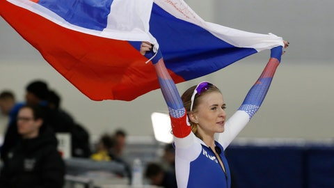 <p>               Russia's Natalia Voronina celebrates after competing in the women's 5,000 meters during the world single distances speedskating championships Saturday, Feb. 15, 2020, in Kearns, Utah. (AP Photo/Rick Bowmer)             </p>