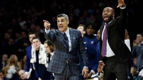 <p>               Villanova head coach Jay Wright, left, and assistant coach Kyle Neptune yell to their team during the second half of an NCAA college basketball game against Creighton, Saturday, Feb. 1, 2020, in Philadelphia. (AP Photo/Matt Slocum)             </p>
