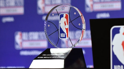 <p>               The NBA All-Star Game Kobe Bryant MVP Award is displayed during a news conference Saturday, Feb. 15, 2020, in Chicago. (AP Photo/David Banks)             </p>
