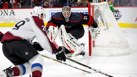 <p>               Carolina Hurricanes goaltender Anton Forsberg (31), of Sweden, eyes the puck as Colorado Avalanche's Nathan MacKinnon (29) skates with it during the first period of an NHL hockey game in Raleigh, N.C., Friday, Feb. 28, 2020. (AP Photo/Karl B DeBlaker)             </p>
