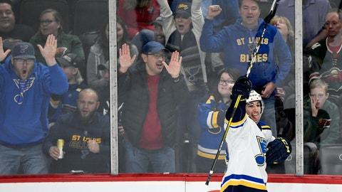 <p>               St. Louis Blues' Jordan Kyrou (33) celebrates scoring a goal against the Minnesota Wild during the first period of an NHL hockey game Sunday, Feb. 23, 2020, in St. Paul, Minn. (AP Photo/Hannah Foslien)             </p>