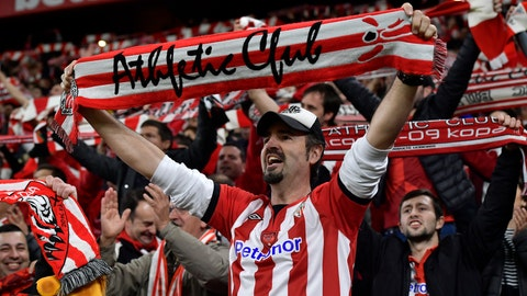 <p>               Athletic Bilbao fans celebrate at the end of the Spanish Copa del Rey, quarter final, soccer match between Athletic Bilbao and Barcelona at San Mames stadium in Bilbao, Spain, Thursday, Feb. 6, 2020. Athletic Bilbao won 1-0. (AP Photo/Alvaro Barrientos)             </p>