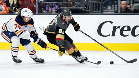 <p>               Vegas Golden Knights center Jonathan Marchessault (81) skates around Edmonton Oilers defenseman Ethan Bear (74) during the second period of an NHL hockey game Wednesday, Feb. 26, 2020, in Las Vegas. (AP Photo/John Locher)             </p>