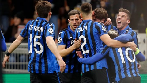 <p>               Atalanta players celebrate after Atalanta's Hans Hateboer scored his side's opening goal during the Champions League round of 16, first leg, soccer match between Atalanta and Valencia at the San Siro stadium in Milan, Italy, Wednesday, Feb. 19, 2020. (AP Photo/Antonio Calanni)             </p>