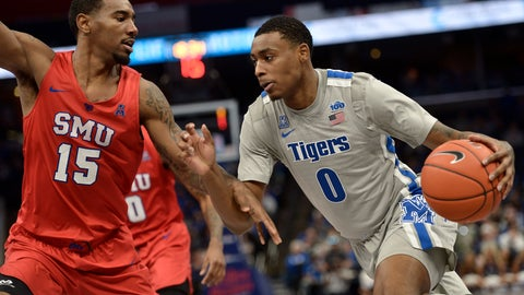 <p>               Memphis forward D.J. Jeffries (0) drives against SMU forward Isiaha Mike (15) in the second half of an NCAA basketball game Saturday, Jan. 25, 2020, in Memphis, Tenn. (AP Photo/Brandon Dill)             </p>