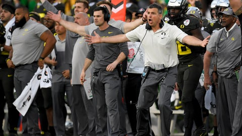 <p>               Oregon head coach Mario Cristobal reacts during second half of the Rose Bowl NCAA college football game against Wisconsin Wednesday, Jan. 1, 2020, in Pasadena, Calif. (AP Photo/Mark J. Terrill)             </p>