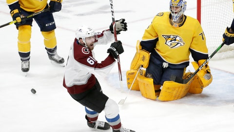 <p>               Colorado Avalanche right wing Martin Kaut (61), of the Czech Republic, celebrates after scoring a goal against Nashville Predators goaltender Juuse Saros (74), of Finland, in the second period of an NHL hockey game Saturday, Feb. 29, 2020, in Nashville, Tenn. (AP Photo/Mark Humphrey)             </p>