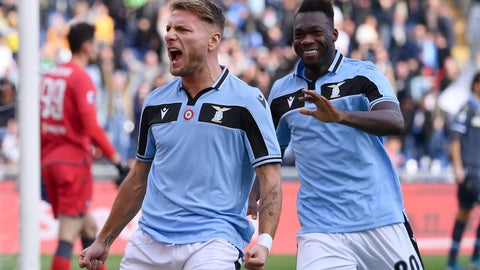 <p>               Lazio's Ciro Immobile, left, celebrates after scoring his side's opening goal during the Serie A soccer match between Lazio and Spal, at the Rome Olympic Stadium Sunday, Feb. 2, 2020. (Alfredo Falcone/Lapresse via AP)             </p>