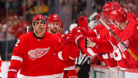 <p>               Detroit Red Wings left wing Andreas Athanasiou (72) celebrates scoring against the Boston Bruins in the third period of an NHL hockey game Sunday, Feb. 9, 2020, in Detroit. (AP Photo/Paul Sancya)             </p>