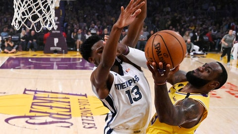 <p>               Los Angeles Lakers forward LeBron James, right, shoots as Memphis Grizzlies forward Jaren Jackson Jr. defends during the first half of an NBA basketball game Friday, Feb. 21, 2020, in Los Angeles. (AP Photo/Mark J. Terrill)             </p>