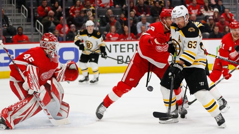 <p>               Boston Bruins left wing Brad Marchand (63) tries to redirect a shot as Detroit Red Wings goaltender Jonathan Bernier (45) defends in the first period of an NHL hockey game Sunday, Feb. 9, 2020, in Detroit. (AP Photo/Paul Sancya)             </p>