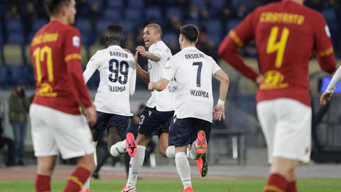 <p>               Bologna's Barrow, second from left, is cheered by teammates after scoring during the Italian Serie A soccer match between Roma and Bologna at Rome's Olympic stadium, Friday, Feb. 7, 2020. (AP Photo/Gregorio Borgia)             </p>