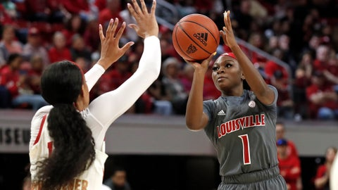 <p>               Louisville guard Dana Evans (1) shoots while North Carolina State guard Jakia Brown-Turner defends during the first half of an NCAA college basketball game in Raleigh, N.C., Thursday, Feb. 13, 2020. (AP Photo/Gerry Broome)             </p>