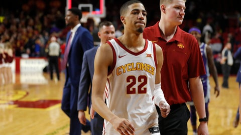 <p>               Iowa State guard Tyrese Haliburton (22) walks off the court following a win over Kansas State in a NCAA college basketball game, Saturday, Feb. 8, 2020, in Ames, Iowa. (AP Photo/Matthew Putney)             </p>