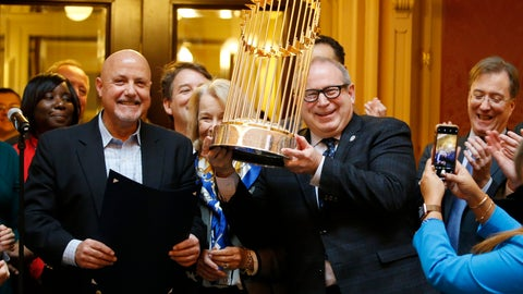 <p>               Del. Mark Sickles, D-Fairfax., right, holds the Washington Nationals World Series trophy as Nationals president and General Manager, Mike Rizzo, left, looks on as the Virginia House of Delegates honors the team during the session at the Capitol Tuesday Jan 28, 2020, in Richmond, Va. (AP Photo/Steve Helber)             </p>