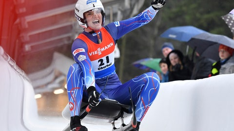 <p>               Summer Britcher from the USA cheers at the finish line after finishing third at the luge world cup in Oberhof, Germany, Sunday, Feb.2, 2020. (Martin Schutt/dpa via AP)             </p>