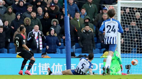 <p>               Crystal Palace's Jordan Ayew scores his side's first goal of the game, during the English Premier League soccer match between Brighton and Crystal Palace, at the AMEX Stadium, in Brighton, England, Saturday, Feb. 29, 2020. (Gareth Fuller/PA via AP)             </p>