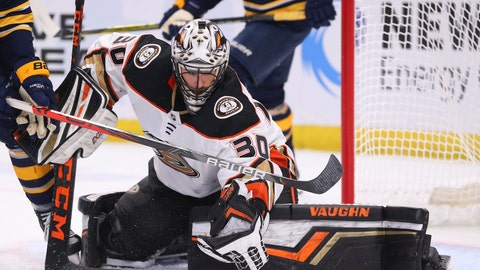 <p>               Anaheim Ducks goalie Ryan Miller (30) makes a glove save during the third period of an NHL hockey game against the Buffalo Sabres, Sunday, Feb. 9, 2020, in Buffalo, N.Y. (AP Photo/Jeffrey T. Barnes)             </p>