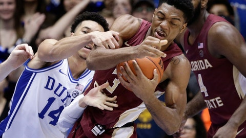 <p>               Duke guard Jordan Goldwire (14) reaches for the ball while Florida State guard Trent Forrest (3) grabs a rebound during the second half of an NCAA college basketball game in Durham, N.C., Monday, Feb. 10, 2020. (AP Photo/Gerry Broome)             </p>