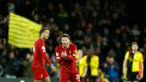 <p>               Liverpool's Adam Lallana, center, reacts after Watford's Troy Deeney scores his side's third goal during the English Premier League soccer match between Watford and Liverpool at Vicarage Road stadium, in Watford, England, Saturday, Feb. 29, 2020. (AP Photo/Alastair Grant)             </p>