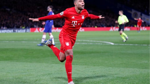 <p>               Bayern's Serge Gnabry celebrates after scoring his side's second goal during the Champions League round of 16 soccer match between Chelsea and Bayern Munich at Stamford Bridge in London, England, Tuesday, Feb. 25, 2020. (AP Photo/Frank Augstein)             </p>