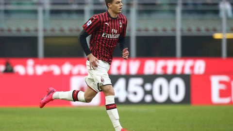 <p>               AC Milan's Daniel Maldini runs on the pitch as he makes his Serie A debut during the soccer match between AC Milan and Hellas Verona, the Milan San Siro Stadium, Italy, Sunday, Feb. 2, 2020. (Spada/Lapresse via AP)             </p>
