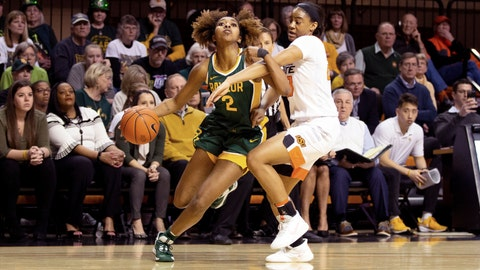 <p>               Baylor guard DiDi Richards (2) drives the basketball while under defensive pressure from Oklahoma State guard Lauren Fields (23) during the second half of an NCAA college basketball game in Stillwater, Okla., Saturday, Feb. 15, 2020. (AP Photo/Brody Schmidt)             </p>