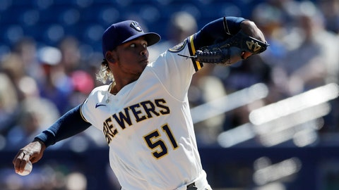 <p>               Milwaukee Brewers starting pitcher Freddy Peralta works against a Seattle Mariners batter during the first inning of a spring training baseball game Tuesday, Feb. 25, 2020, in Phoenix. (AP Photo/Gregory Bull)             </p>