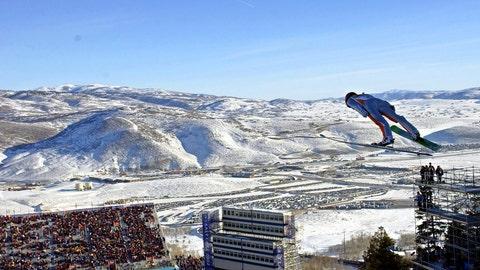 <p>               FILE - In this Feb. 10, 2002, file photo, Simon Ammann, of Switzerland, competes in the men's K90 Individual ski jump at the 2002 Salt Lake City Winter Olympics in Park City, Utah.  Salt Lake City may shift its focus to bidding for the 2034 Winter Olympics rather than the games four years earlier following the announcement last month that Sapporo, Japan will bid for 2030, organizing committee members said Wednesday, Feb. 12, 2020. (AP Photo/Elise Amendola, File)             </p>