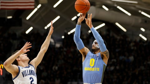 <p>               Marquette's Markus Howard (0) goes up for a shot against Villanova's Collin Gillespie (2) during the first half of an NCAA college basketball game Wednesday, Feb. 12, 2020, in Villanova, Pa. (AP Photo/Matt Slocum)             </p>