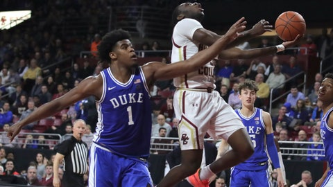 <p>               Boston College guard Jay Heath, right, is fouled by Duke center Vernon Carey Jr. (1) on a drive to the basket during the second half of an NCAA college basketball game in Boston, Tuesday, Feb. 4, 2020. (AP Photo/Charles Krupa)             </p>
