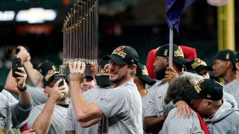 <p>               FILE - In this Oct. 30, 2019, file photo, Washington Nationals starting pitcher Max Scherzer celebrates with the trophy after Game 7 of the baseball World Series against the Houston Astros in Houston. The Nationals head to spring training with mostly the same squad that won the World Series. They are counting again on being led by a star-studded rotation featuring Scherzer and Stephen Strasburg, along with slugger Juan Soto. (AP Photo/David J. Phillip, File)             </p>