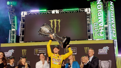 <p>               FILE - In this Nov. 17, 2019, file photo, Kyle Busch, center, holds up his trophy in Victory Lane after winning a NASCAR Cup Series auto racing season championship at Homestead-Miami Speedway in Homestead, Fla. NASCAR's season officially opens Sunday, Feb. 16, 2020, with the Daytona 500 at Daytona International Speedway. (AP Photo/Terry Renna, File)             </p>