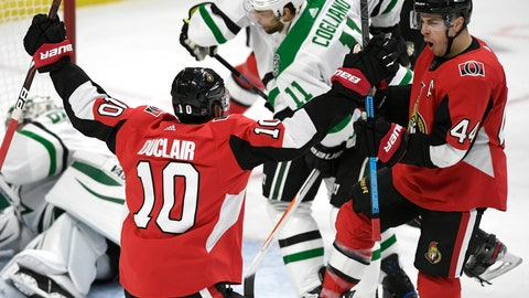 <p>               Ottawa Senators centre Jean-Gabriel Pageau (44) celebrates a goal against the Dallas Stars with left wing Anthony Duclair (10) during the first period of an NHL hockey game Sunday, Feb. 16, 2020, in Ottawa, Ontario. (Justin Tang/The Canadian Press via AP)             </p>